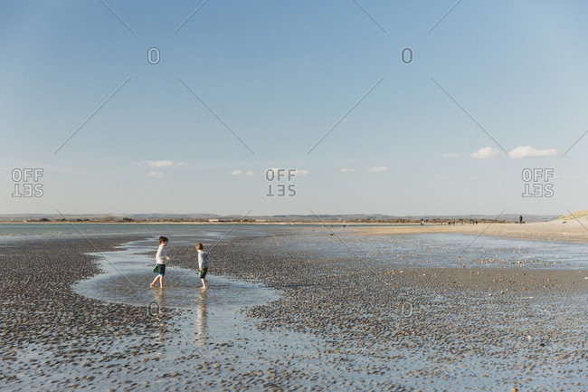 Two brothers paddling and playing on beach at low tide