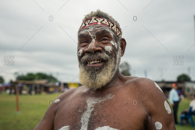 Kokopo, East New Britain, Papua New Guinea - July 10, 2019: Man from Papua New Guinea during the Mask Festival 2019