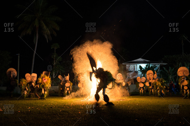 Baining fire dance. Performed by people from the Baining tribe