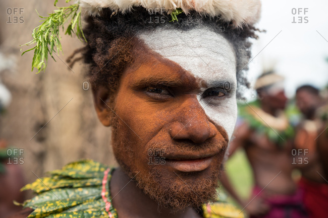 Kokopo, East New Britain, Papua New Guinea - July 12, 2019: Tolai man from Matupit after performing in the Mask Festival