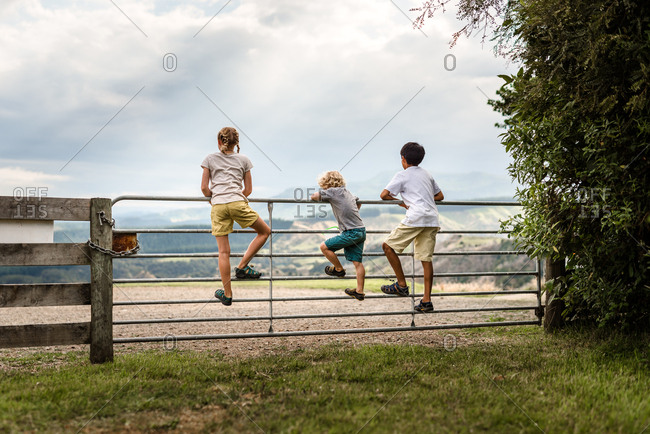 Siblings climbing on a fence overlooking mountains
