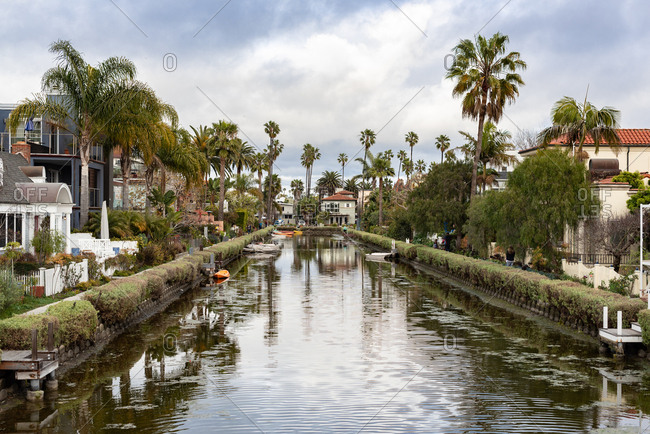 Venice Beach, California, United States - March 3, 2019: Venice canal in Venice Beach, California