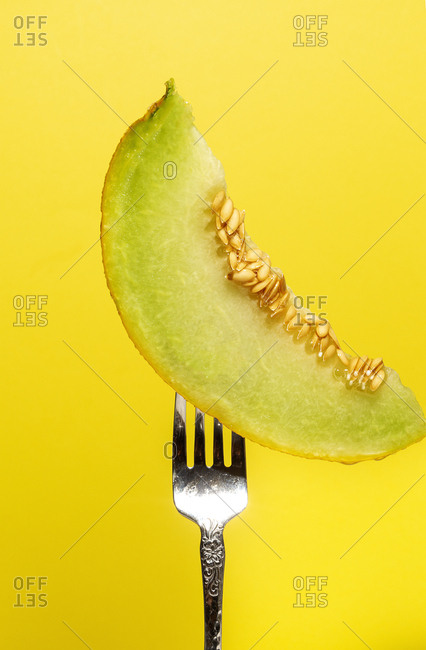 Tasty juicy slice of pitted melon served on shiny steel fork on yellow background