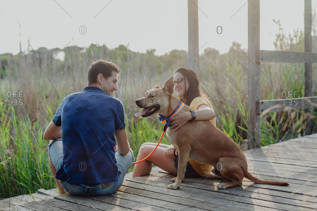Cheerful adult couple playing with dog at countryside