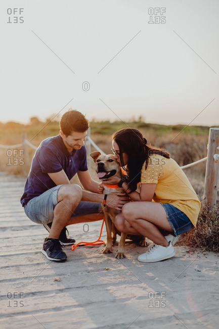 Happy adult couple petting dog at countryside