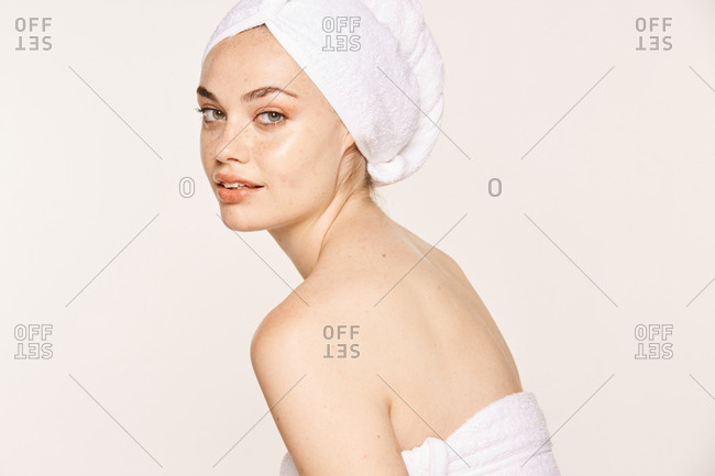 Attractive female with radiant body after cosmetic procedure