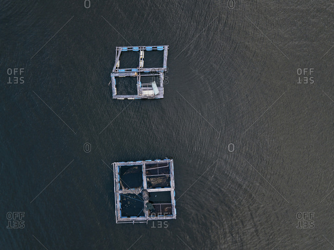 Aerial view of lobster farm, Bali, Indonesia