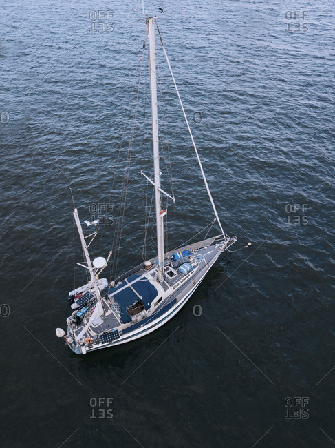 Aerial view of sailing boat, Bali, Indonesia