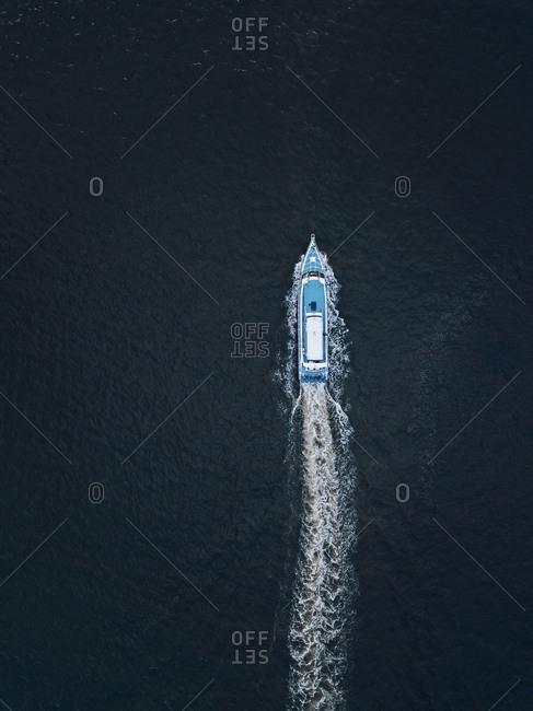 Aerial view of speedboat, Bali, Indonesia