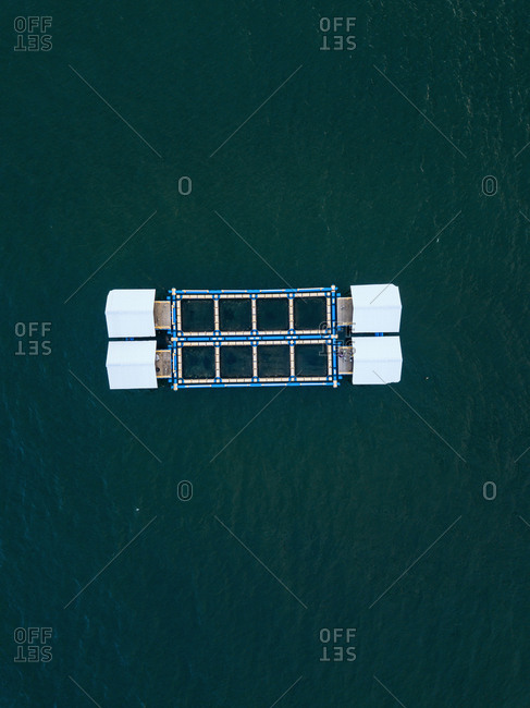 Aerial view of compartments of lobster farm, Bali, Indonesia