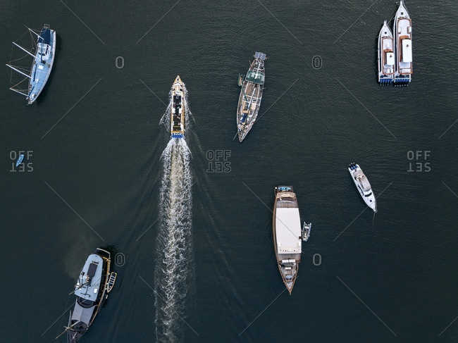 Aerial view of mooring area and boats, Bali, Indonesia
