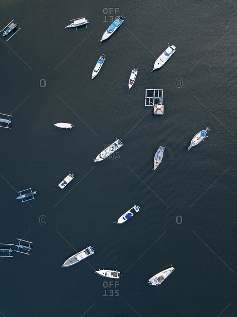 Aerial view of banca boats, Bali, Indonesia