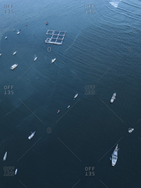 Aerial view of yachts, Bali, Indonesia