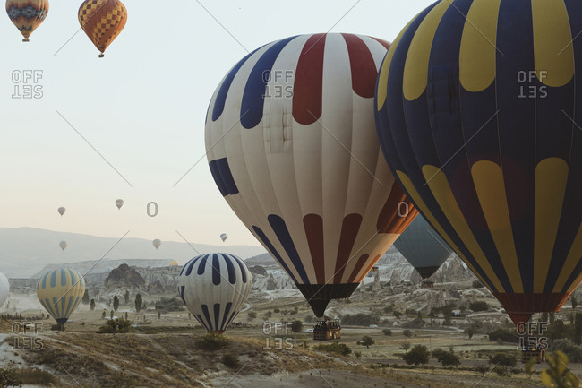 View of hot air balloons flight, Turkey, Cappadocia, Goreme,