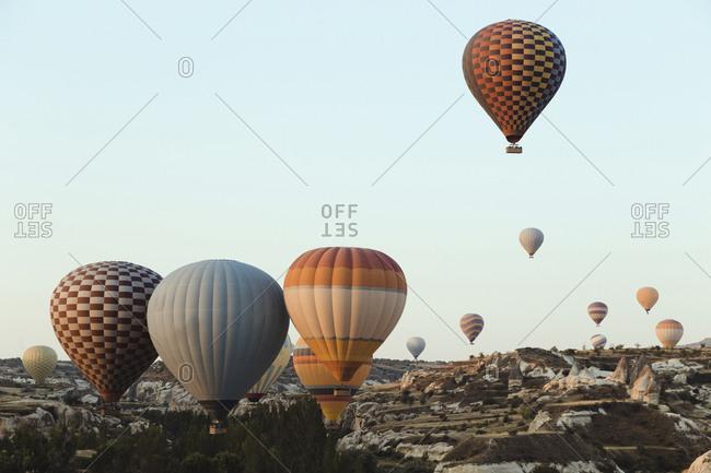 View of hot air balloons flight, Turkey, Cappadocia, Goreme,