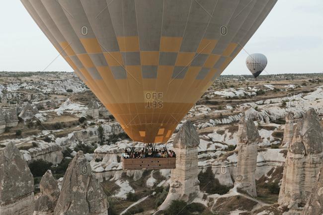 August 22, 2019: People in a hot air balloon at Cappadocia, Turkey