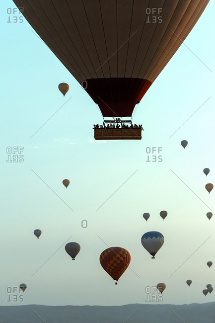 Air balloons against a sky, Cappadocia, Turkey