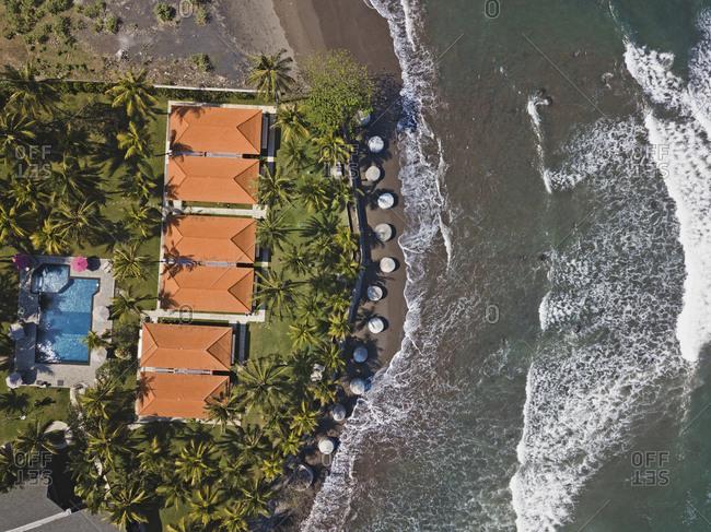 Aerial view of Medewi beach, Bali, Indoneisa