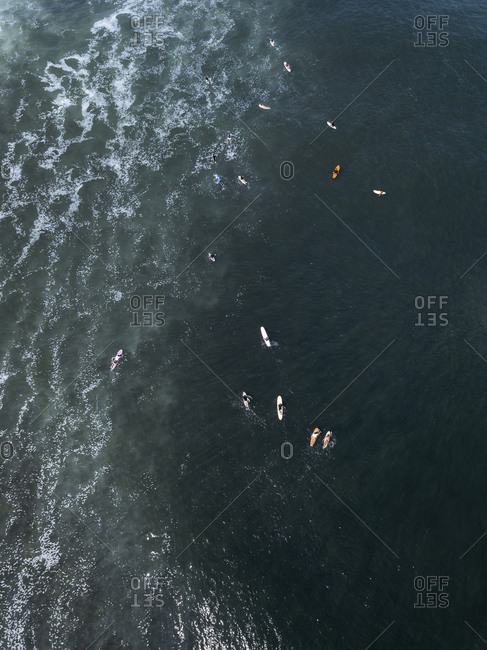 Aerial view of surfers, Bali, Indonesia
