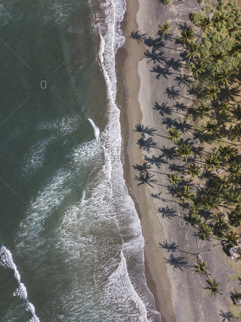 Aerial view of Medewi beach, Bali, Indonesia