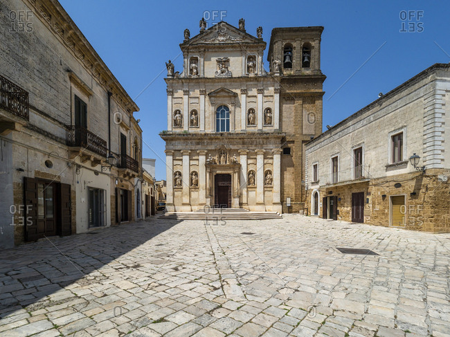 Facade of Church of St Anna against clear blue sky on sunny day