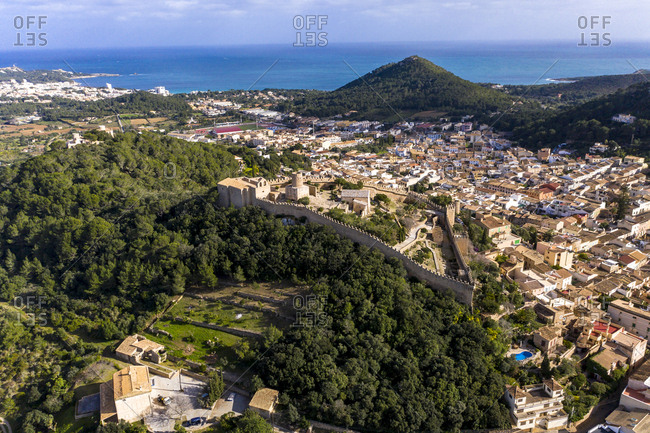 Aerial view of Castle Of Capdepera in village by Mediterranean Sea