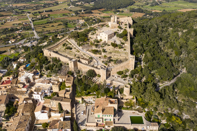 Aerial view of Castle Of Capdepera in village