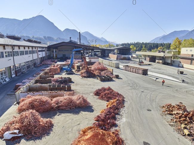 Austria- Tyrol- Brixlegg- Electronic copper wires being recycled in junkyard