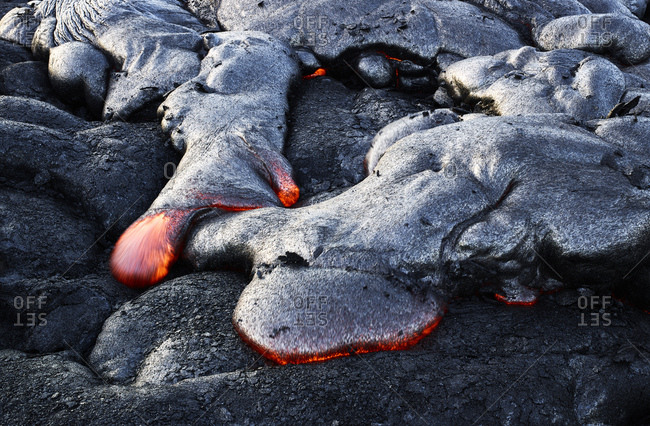 High angle view of lava flowing from Pu'u O'o' at Hawaii Volcanoes National Park