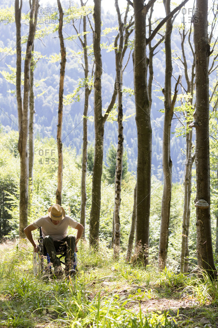 Man in wheelchair in the forest