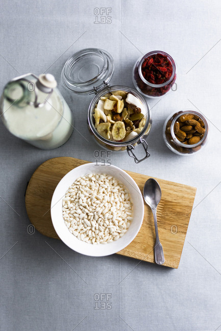 Bowl of puffed rice and muesli ingredients seen from above