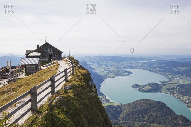 September 10, 2018: Himmelspforte Schafberg on mountain peak with lake against sky