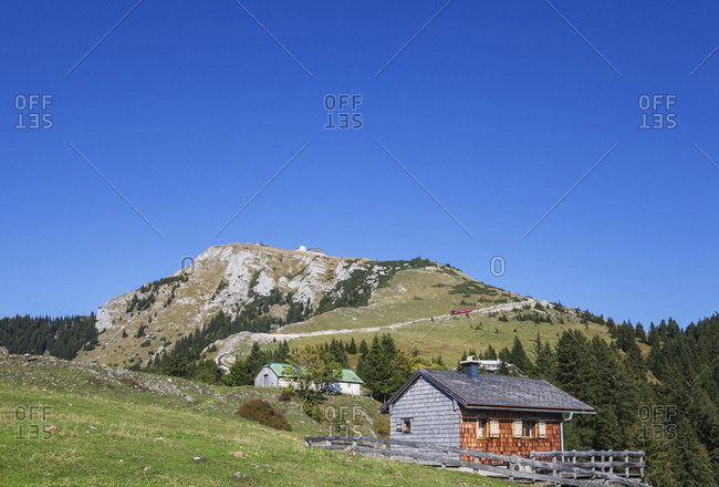 Low angle view of Schafberg Railway on Himmelspforte Schafberg against clear blue sky