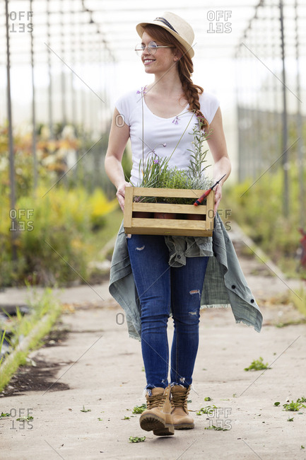 Beautiful young woman holding wooden box with plants in the greenhouse