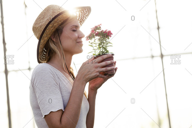 Beautiful young woman smelling at flower in the greenhouse
