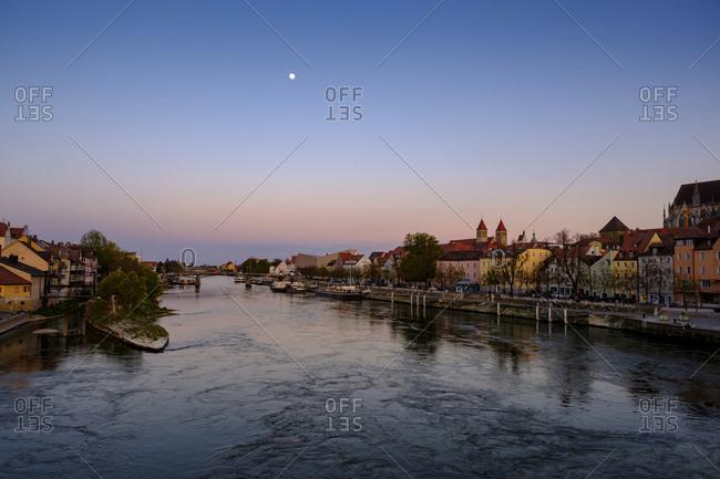 April 17, 2019: Germany- Bavaria-ĘRegensburg- Danube River