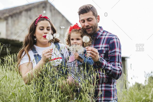Young family enjoying nature