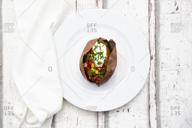Sweet potato kumpir on plate