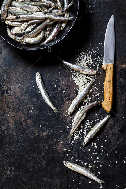 Directly above view of fresh anchovies and sea salt with knife on slate rock