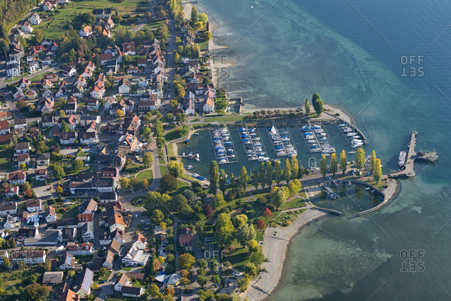Germany- Baden-Wurttemberg- Aerial view of town and marina on lake Constance