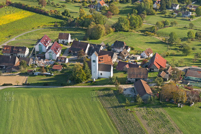 Germany- Baden-Wurttemberg- Aerial view of village and fields