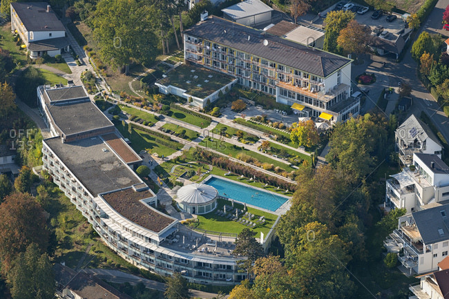 Germany- Baden-Wurttemberg- Uberlingen- Aerial view of Buchinger Wilhelmi clinic