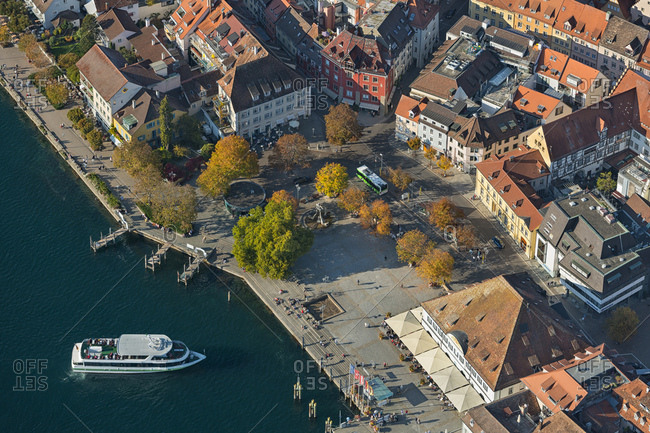 October 10, 2018: Germany- Baden-Wurttemberg- Uberlingen- Aerial view of Lake Constance and old town