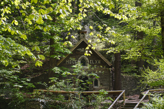 Germany- Upper Bavaria- Munich-ĘMarienklause Chapel surrounded with trees