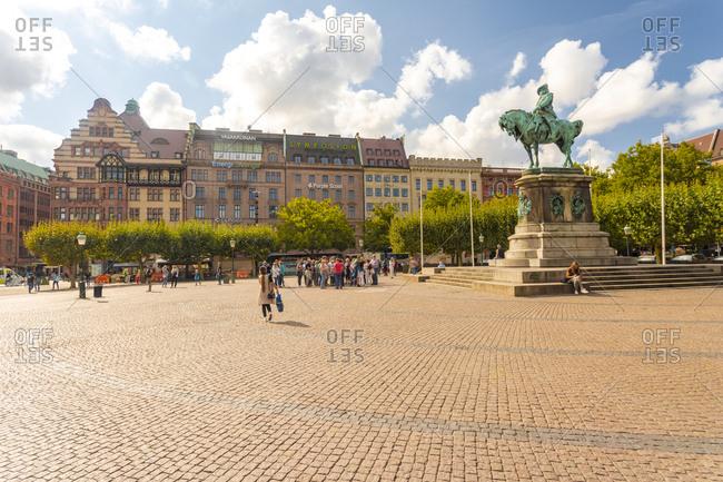 September 2, 2018: Sweden- Malmo- Karl X Gustav statue in town square
