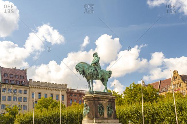 Sweden- Malmo- Karl X Gustav statue in town square