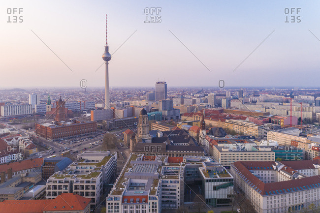 April 12, 2018: High angle view of Fernsehturm in Berlin city against sky