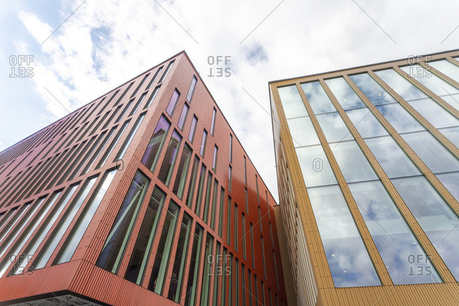 September 2, 2018: Low angle view of Malmo Concert Hall against sky