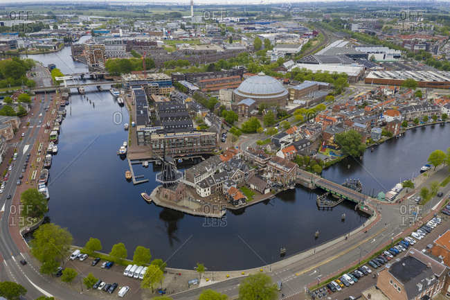 Aerial view of canal in Haarlem city