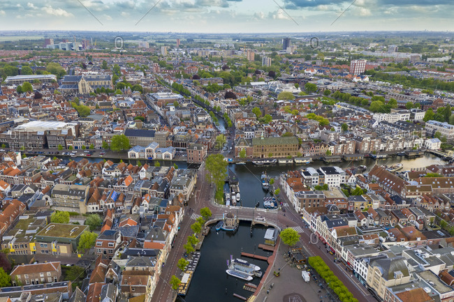 May 5, 2019: Aerial view of harbor in Leiden cityscape